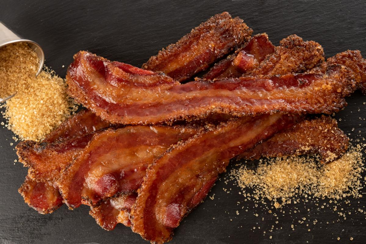 Candied bacon with turbinado sugar